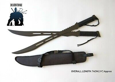 "29"" Dual Deathstroke Ninja Swords Full Tang Black Blades W/ Sheath & Free Stand"