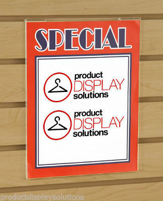 """11""""H X 8.5""""W Slatwall Acrylic Clear Plastic Sign Card Holder 