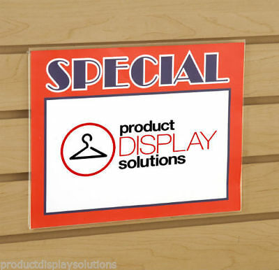 """8.5""""H X 11""""W Slatwall Acrylic Clear Plastic Sign Card Holder 