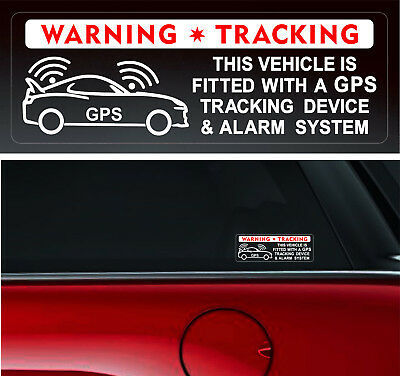 4 Warning Stickers Signs GPS Tracking Alarm Device Car Vehicle Window Security +
