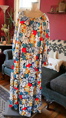 VTG 60s 70s FLORAL DRESS house white full long sleeve MAXI psychedelic LARGE