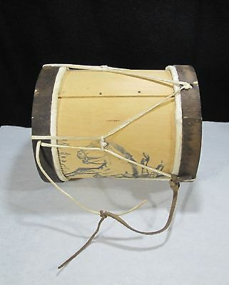 Vintage Leather and Wood Two Sided Drum with Bucking Bronc & Cowboy Quality Made