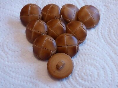 Large 20mm 32L x 10 Quality Tan Brown Leather Effect Football Coat Shank Buttons