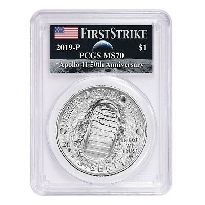 2019 P Apollo 11 50th Anniversary Silver Dollar Comm. PCGS MS 70 FS (Moon Label)