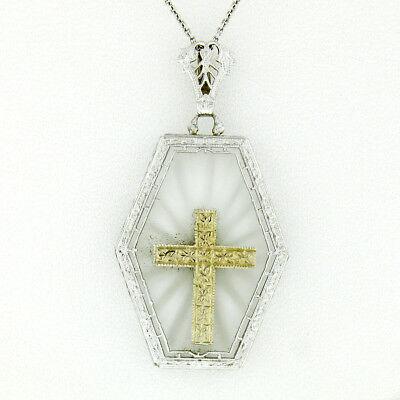 Antique Art Deco 14K Gold French Camphor Glass Hand Etched Cross Pendant & Chain