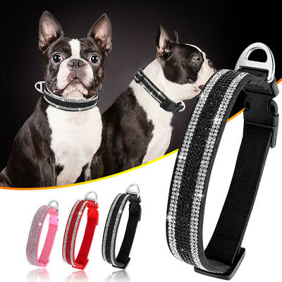 Bling Rhinestone Pet Puppy Dog Collar Soft Suede Adjustable for Chihuahua S M L