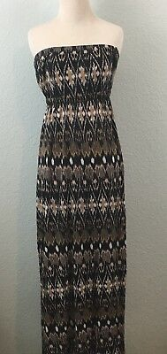 594e3ea8df50 Joie Strapless Maxi Dress Rayon Empire Waist Black Brown White Ikat Print  Size L