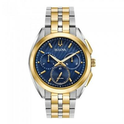 BULOVA Men's Chronograph Curve Two-Tone Stainless Steel 45mm BLUE DIAL Watch