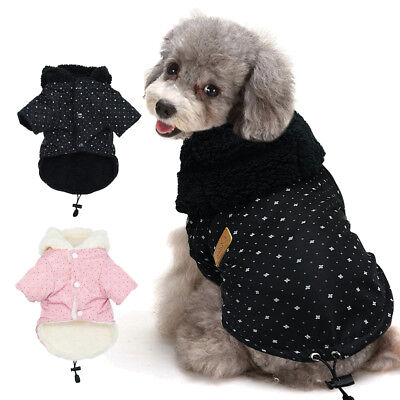 Winter Warm Small Dog Coat Chihuahua Clothes Fleece Lined Jacket Hoodie for Pet