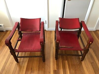 Pair of Red Leather Sirocco Safari Mid-Century Vintage Chairs