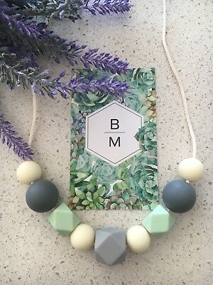 Silicone Necklace (was teething) Gift for Mum Jewellery Beads Aus Sensory Mint