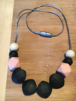 Silicone Sensory (was teething) Necklace for Mum Jewellery Beads Aus Black Gift