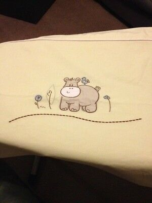 Living Textiles Cot Quilt Cover - pale green with hippopotamus