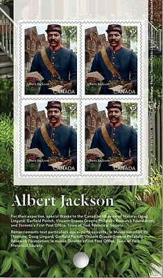 ALBERT JACKSON = BLACK HISTORY = Block of 4 = Booklet page = MNH-VF Canada 2019
