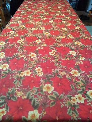 """HOLIDAY CHRISTMAS TABLE CLOTH 100"""" x 60"""" RED GREEN HOLLY POINTSETTIA"""