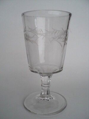 """EAPG etched crystal 6 5/8"""" goblet.  Victorian glass"""