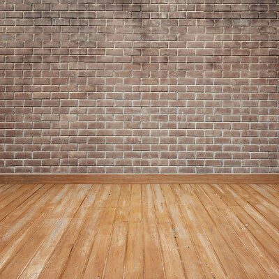 Vintage Brick Wall Rustic Wood Floor 10X10FT Studio Background Vinyl Backdrops