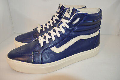c0af0614483180 VANS Off The Wall Vintage Sk8 Hi Royal Blue Leather Skate Punk High Tops  Men 9