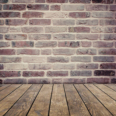Retro Brick Wall Vintage Old Wood Floor 10X10FT Studio Background Vinyl Backdrop