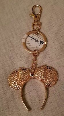 NEW WITH TAGS Disney Parks Rose Gold Minnie Mouse Ears Keychain Key Chain