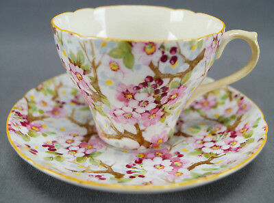Shelley Bone China Maytime Pink & White Floral Tea Cup & Saucer