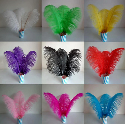 3pcs 30-35cm Ostrich Feathers 9 Colours DIY Craft Millinery Wedding CakeCostume