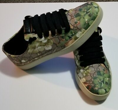 60abcee6ab2478 GUCCI SUPREME GG Canvas Bloom Print Green Flower Sneaker Shoes ...