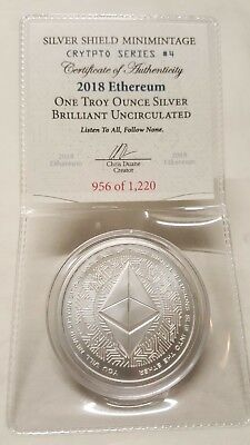 1oz Silver Shield Ethereum BU Silver Round Coin #4 Crytpto Series Cryptocurrency