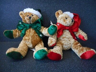 NEW Plush Super Soft Two Christmas Teddy Bear - Cuddly Toy - Traditional Gift