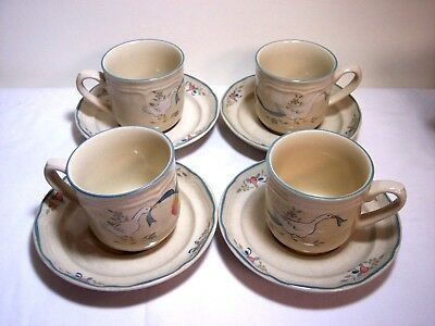8 Pcs International Stoneware Marmalade Geese 4 Cups and 4 Saucers VGC