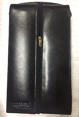 BLACK LEATHER WINE CARRIER CASE FOR 2x BOTTLES - Carry Handle, Zipper, Lined