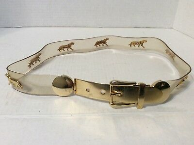 Vintage Clear Plastic Womens Belt With Gold Tone Buckle And Panthers