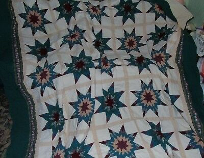 vintage traditional  handmade patchwork quilt throw 102 ins x 102 ins