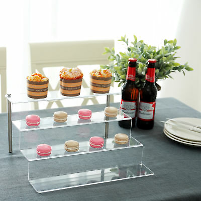 Clear Acrylic Shelf & Metal Cupcake Stand / 4-Tier Display Riser Rack