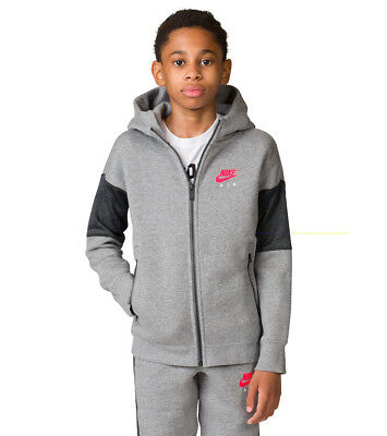 611859498c2a BOYS NIKE AIR Full Zip Hoodie M 10-12 Years (856179 091) Grey   Navy ...