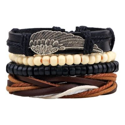 Men Multilayer Bead Bracelet Leather Women Casual Jewelry Rope Chain Trendy Cute