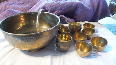 Vintage Brass Pedestal Punch Bowl  with 12 cups and Ladle