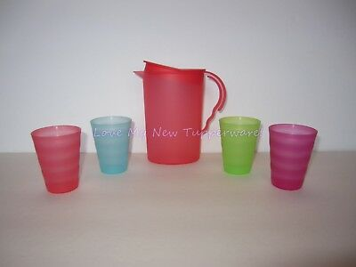 Tupperware Kids Mini Impressions Party Set Tumblers & Rock Top Pitcher New