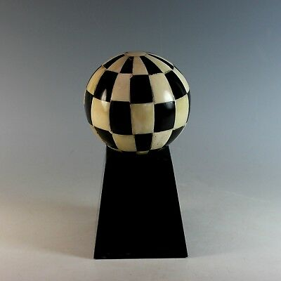 Antique Black White Sphere Ball on Stand Desk Accessory Ornament