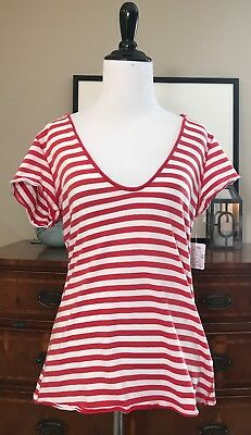 cee8abaf0949 NWOT WE THE Free People Brown White Striped Ribbed Knit Shirt ...
