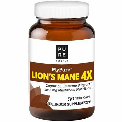 MyPure Lion's Mane 4X Mushroom Extract Supplement by Pure Essence 30 Vegi Caps