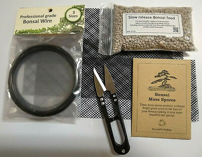 Bonsai tree maintenance kit, Scissors, Food, Mesh, Wire, Moss spores,