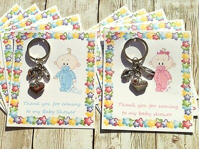 5x Keyrings With Tags Baby Shower Favours Charms Boy Girl Gift