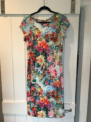Beige by eci Blue Multi-color Floral Stretch Knit Light Scuba Work Dress 10 $98