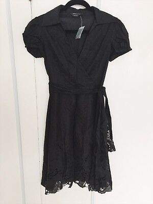 Bcbgmaxazria Little Black Dress Faux Wrap Size 2 Nwt 1200 Picclick