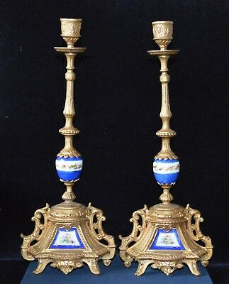 Antique Victorian Ornate Gilt Metal Candlesticks with Hand Painted Porcelain