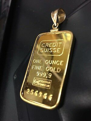 1 Troy Ounce 1 Oz Credit Suisse .999 Pure Gold Bullion Bar in a 14kt Gold Bezel