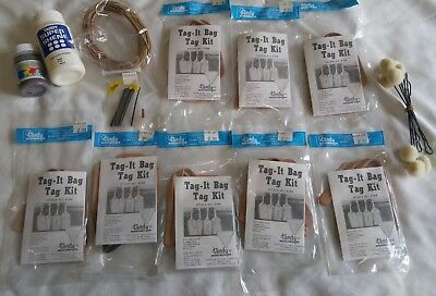 8 Tandy Leather LUGGAGE BAG TAG KIT 4164 Lot & Super Shene Finish Cova Color +