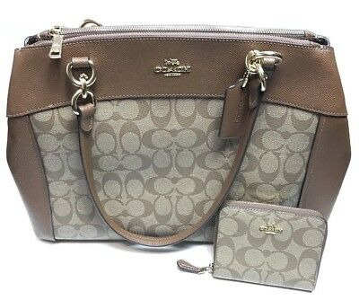1faf6ad3a29 Nwt Coach (F26140) Signature Large Brooke Carryall Leather Bag Handbag  +  Wallet