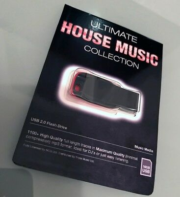 Ultimate House Music Collection USB - x1100 Un-Mixed Full Length Quality Tracks